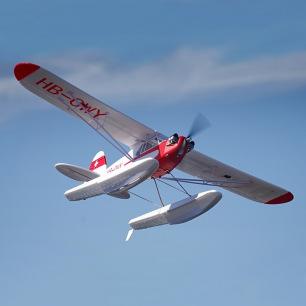 Avion J-3 Cub V3 PNP de FMS - Kit avec flotteurs