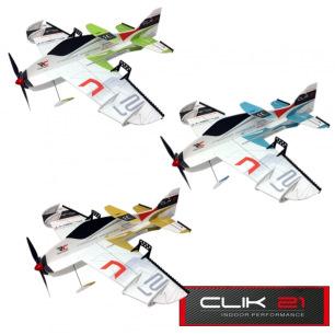 Avion indoor CLIK 21 de RC Factory - Env: 84cm - Vert, Bleu ou Or
