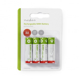 Piles rechargeables NiMH AA 2000mAh 1,2V - Nedis