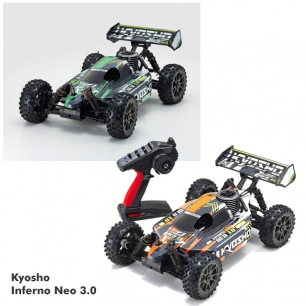 Buggy Inferno Neo 3.0 Readyset de Kyosho - Orange, Vert