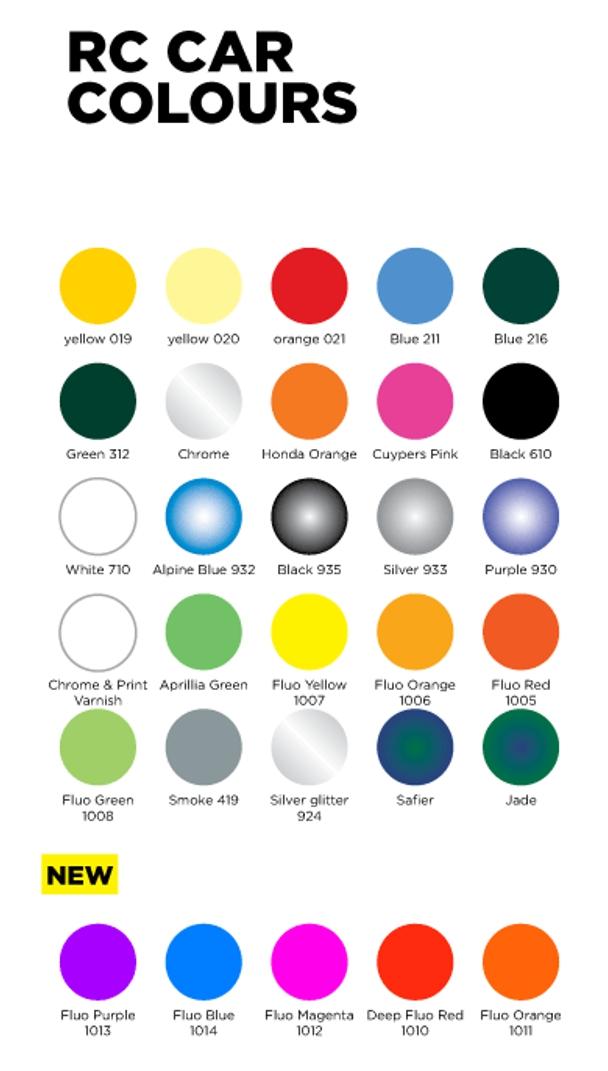 bombes de peinture rc car colours ghiant 150 ml couleurs de 019 1014 r models. Black Bedroom Furniture Sets. Home Design Ideas
