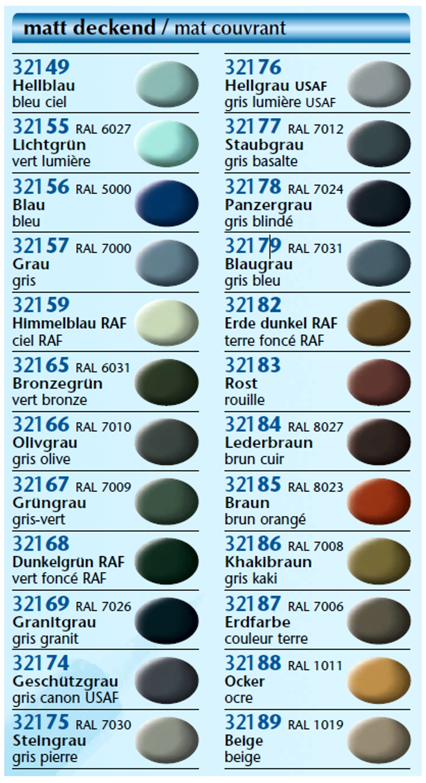 Peinture Email Color Revell Brillant Mat Num De 01 à 89 R Models
